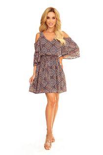Tiulowa sukienka z rozcięciami na ramionach, wiązaniem w pasie i falbanami - Granatowy 2XL