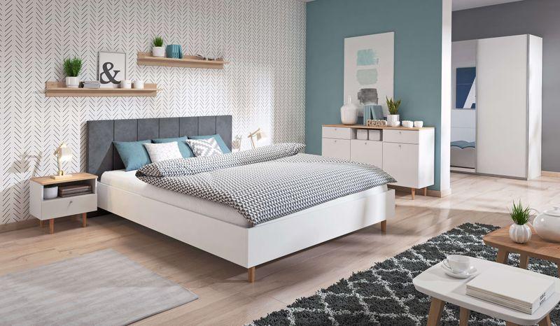 Zestaw Do Sypialni Z łóżkiem 180x200 Madlen Ii Biały Na Nóżkach 7 Dni