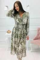 Wzorzysta sukienka z kopertowym dekoltem i falbanami na ramionach - Multikolor 36
