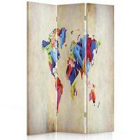 Parawan pokojowy, Kolorowa mapa świata 110x150