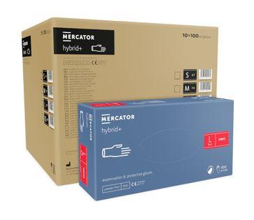 Rękawice syntetyczne MERCATOR hybrid+ L karton 10 x 100 szt