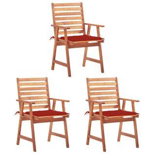 Lumarko Krzesła ogrodowe z poduszkami, 3 szt., lite drewno akacjowe