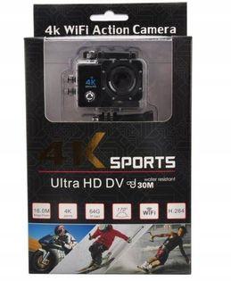 Kamera sportowa wodoodporna 30m wifi 4K akcesoria