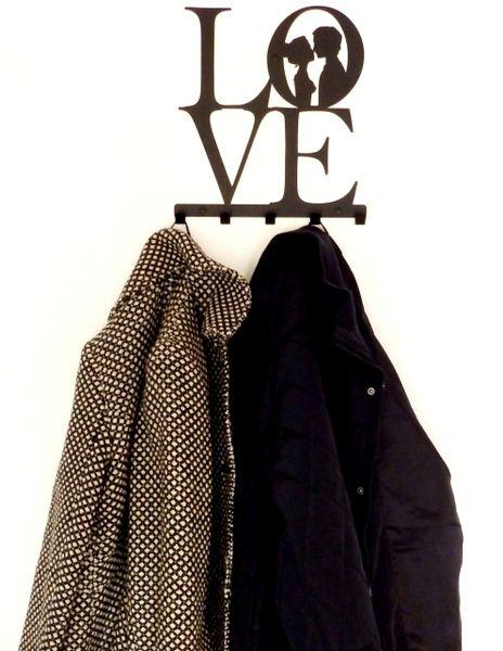 Metalowy wieszak ścienny na ubrania klucze - LOVE zdjęcie 6