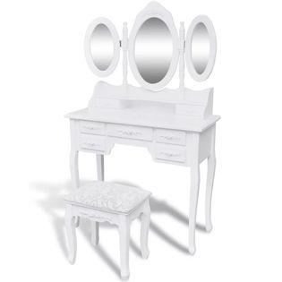 Toaletka z taboretem i 3 lustrami, biała