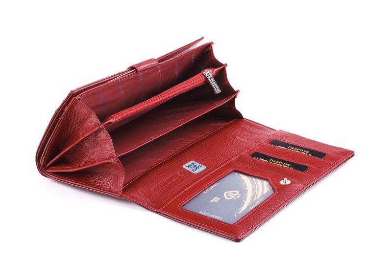 Portfel skórzany damski Zagatto czerwony w liście RFID ZG-102 Leaf zdjęcie 4