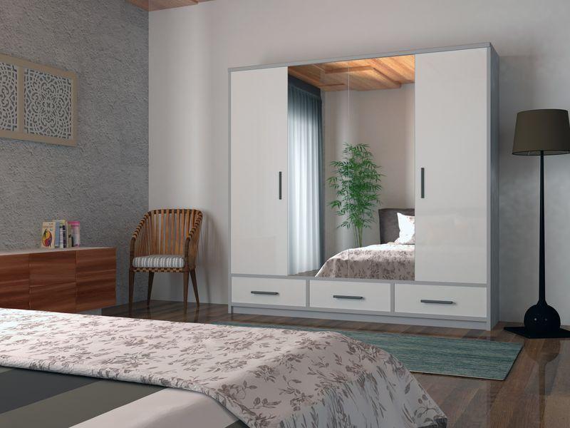 Szafa garderoba przesuwna 250 cm połysk półki szuflady lustro zdjęcie 1