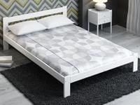 Białe łóżko A4 140x200 materac komplet ze stelażem