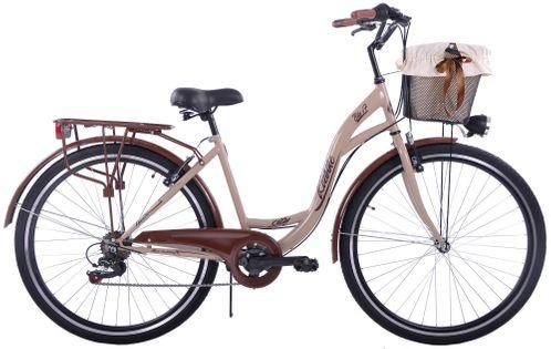Rower miejski 28 Kozbike City 28 7s beżowo-brązowy z koszem