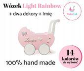 Wózek drewniany dla lalek Light Rainbow prezent dla dziewczynki zdjęcie 6