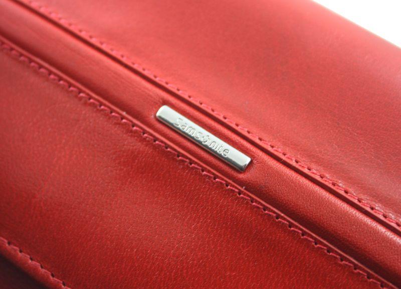 Portfel damski Samsonite RFID, skórzany w kolorze czerwonym zdjęcie 4