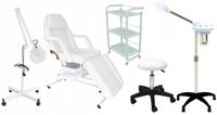 Fotel z kuwetami+stolik ORO+lampa lupa+taboret PAPILIO+Wapozon