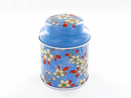 Puszka - niebieska w kwiaty