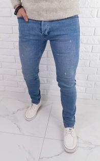 Jasne jeansy meskie slim fit z lekkimi przetarciami 7258 premium - 31