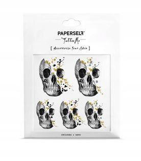 Paperself tatuaż wodny tymczasowy Skull Glitery