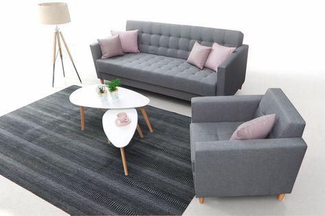 Zestaw rozkładana sofa + fotel Quest
