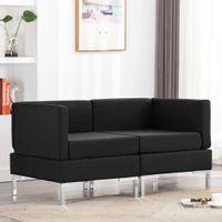 Moduły sofy narożnej z poduszkami, 2 szt., tkanina, czarne