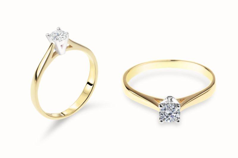 Złoty pierścionek z cyrkoniami ROZMIAR - 14 zdjęcie 1