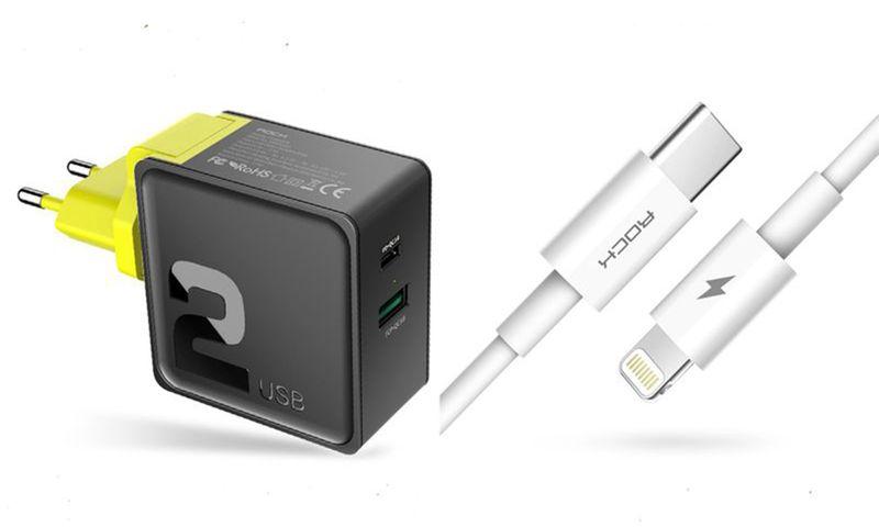 ROCK Ładowarka USB-C Quick Charge + KABEL IPHONE 7 8 X iPad zdjęcie 1