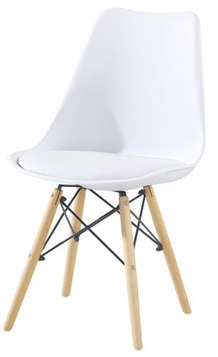 Skandynawskie krzesło KRIS FIORD z krzyżakiem białe BUKOWE NOGI na Arena.pl