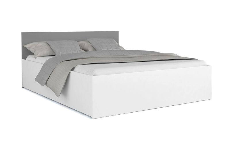 łóżko Panama Biel Szary 180x200 Stelaż Materac