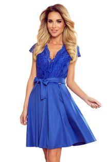 Rozkloszowana sukienka z wiązaniem w pasie - Niebieski S