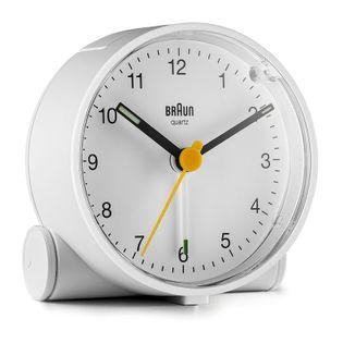 Braun BC01W Budzik na baterię, podświetlenie, alarm, drzemka, płynący mechanizm, szerokość 7 cm