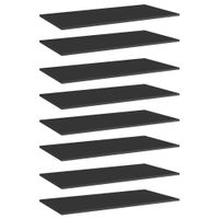 Lumarko Półki na książki, 8 szt., wysoki połysk, czarne, 80x30x1,5 cm
