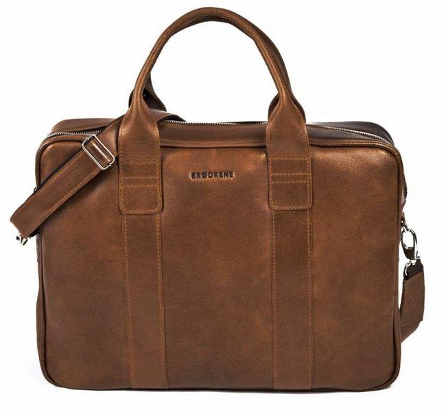 79682d64c939f Męska torba na ramię ze skóry naturalnej na laptop Brodrene jasny brąz z  czarnym wnętrzem zdjęcie
