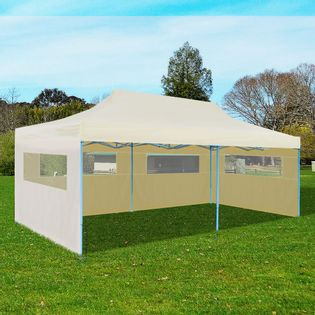 Kremowy namiot imprezowy, rozkładany, 3x6m