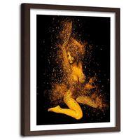 Obraz w ramie brązowej, Naga kobieta w złotym pyle 60x90