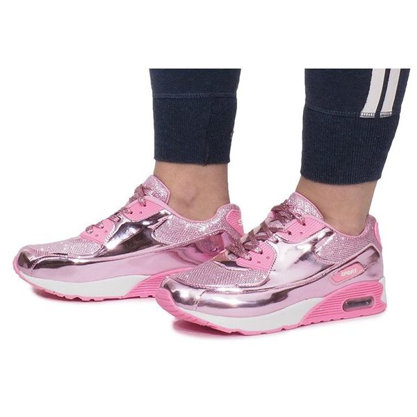 Różowe Błyszczące Buty Sportowe Flash r.37