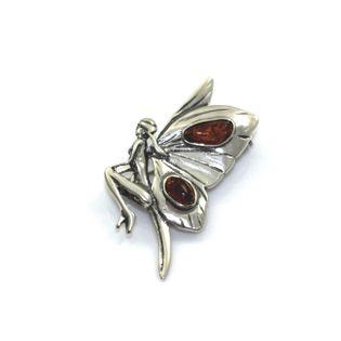 Broszka srebrna wróżka motyl z bursztynem