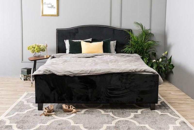 łóżko Do Sypialni Knapper 160x200 Czarne Welur