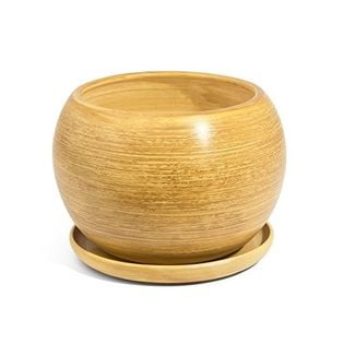 Doniczka Ceramiczna KULA 3 z podstawką jasny brąz eco