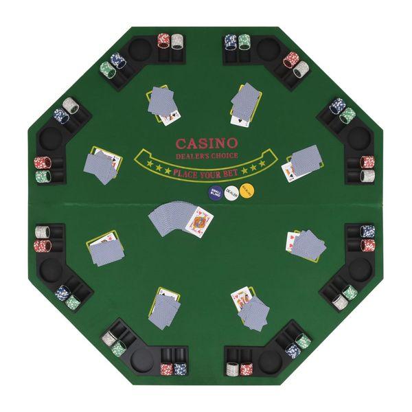 Składany blat do pokera dla 8 graczy, ośmiokątny, zielony zdjęcie 3