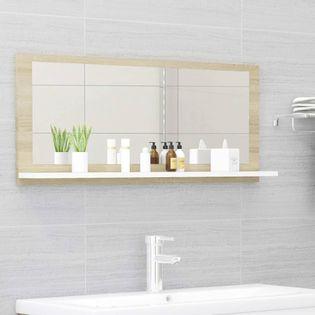 Lumarko Lustro łazienkowe, biel i dąb sonoma, 90x10,5x37 cm, płyta
