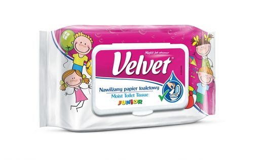 Velvet  Naturalnie Pielęgnujący Nawilżany Papier Toaletowy Moist Junior 42 Szt