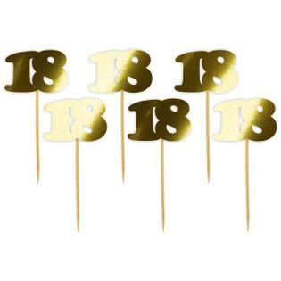 """Pikery """"18 Urodziny Classic"""", złote metalik, 6 szt"""