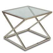 Stoliczek kawowy kwadratowy szkło 8mm chrom ława zdjęcie 5
