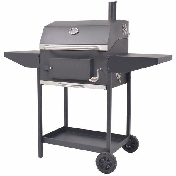 Grill węglowy z wędzarnią i dolną półką, czarny zdjęcie 1
