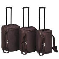 Zestaw 3 toreb podróżnych na kółkach kolor kawowy VidaXL