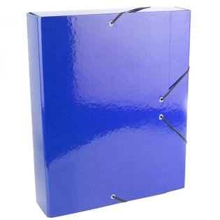 Teczka z gumką A4 6cm skrzydłowa z ringami niebieska