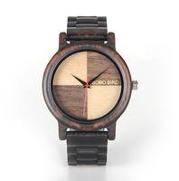 Ciemnobrązowy zegarek drewniany BOBO BIRD na bransolecie EN07