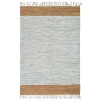 Ręcznie tkany dywanik Chindi, skóra, 190x280 cm, szaro-brązowy