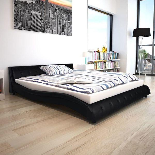 łóżko Rama łóżka Z Materacem Skórzane 160x200 Czarne