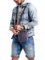 Skórzana saszetka męska torba na ramię listonoszka