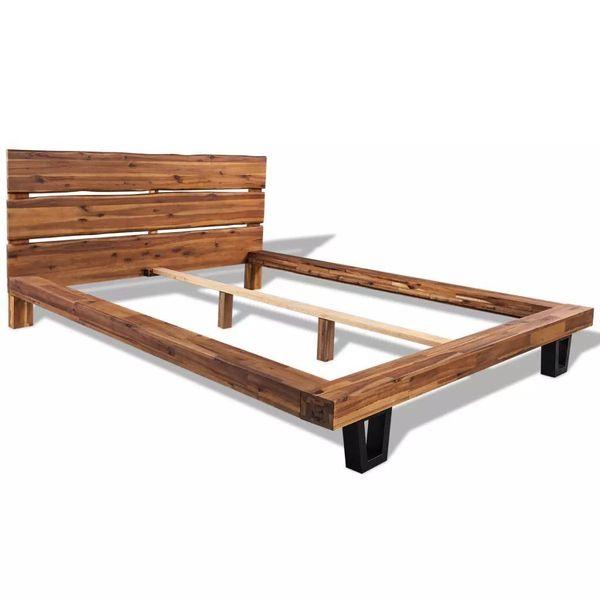 łóżko Rama łóżka Drewniana Z Materacem 140x200cm Do Sypialni