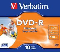 DVD-R VERBATIM 4.7GB PRINTABLE (10 JEWEL CASE)