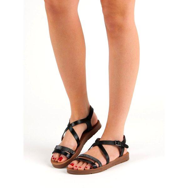 Czarne Sandały Z Kryształkami r.38 zdjęcie 7